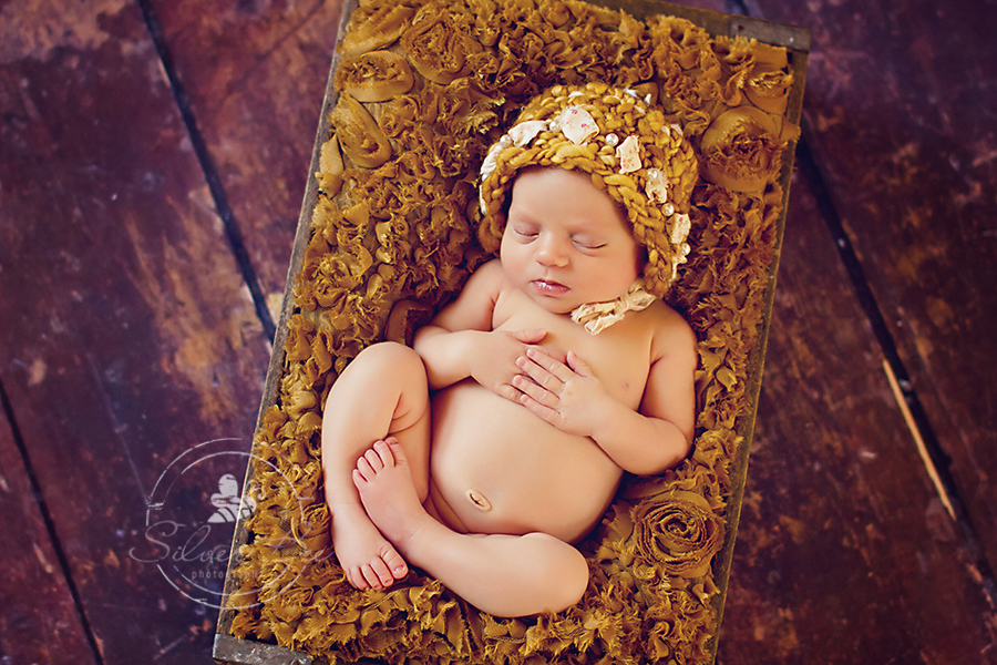 10 day old newborn girl photography session in Austin Texas with golden blanket in box on wood floor with golden head wrap.