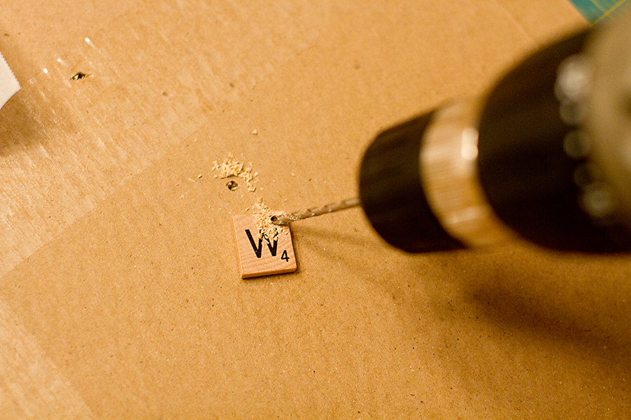 drill hole in scrabble tile